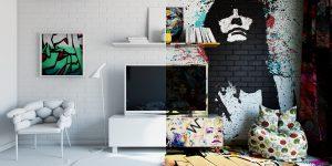 50/50 граффити и минимализм в комнатах отеля