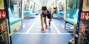 Спортивные вагоны в метро Тайбэя